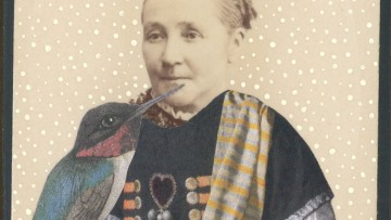 Collage of a woman and a bird
