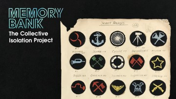 A sheet containing small round scouts badges