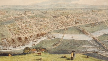 Colour painting of the city of Melbourne in 1855 by Nathaniel Whittock, showing Hoddle's grid of streets and Yarra River