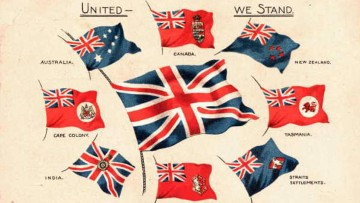 Patriotic colour postcard showing the flags of Britain and the Commonwealth countries c 1918