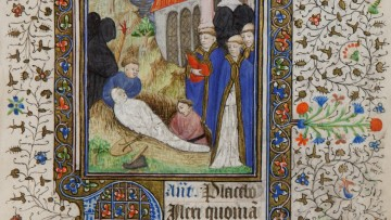 detail of illuminated manuscript with graveside image