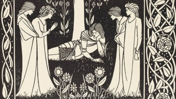 Beardsley woodcut of four women with sleeping Lancelot (detail)
