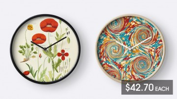 Two wall clocks and price listing