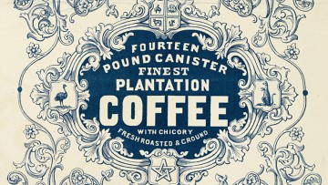 Graphic image of a coffee tin label