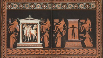 detail of Etruscan terracotta vase illustration