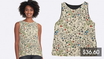 A woman wearing a floral singlet top next to the same top and its price listing