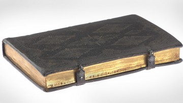 leatherbound gilt-edged book with clasps