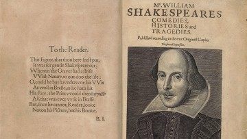 two-page folio with Shakespeare portrait