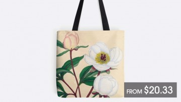 Tote bag with old-fashioned peony print, black handles and price tag