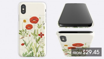 A decorative iPhone case next to an iPhone and a price listing