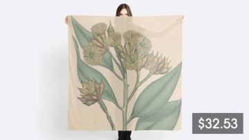 A price tag beneath a woman holding a large scarf with a eucalypt design