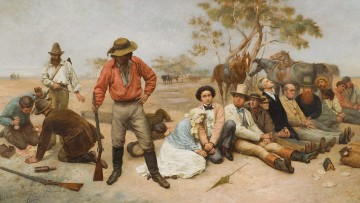 Painting of bushrangers holding up a group of people