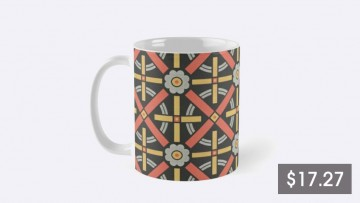 A mug with a geometric pattern and a price listing