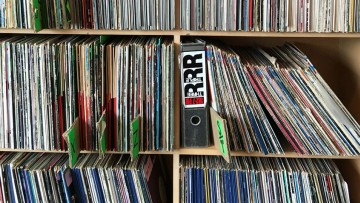 Photo of shelves of records