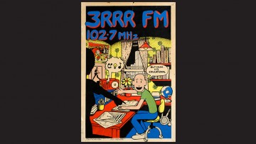 3RRR poster showing a boy listening to 3RRR while telling his mum
