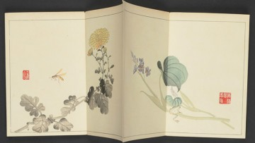 Japanese folding painted artwork with flowers and bee