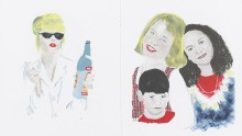 watercolour on white background with three children and blonde woman with sunglasses and vodka bottle