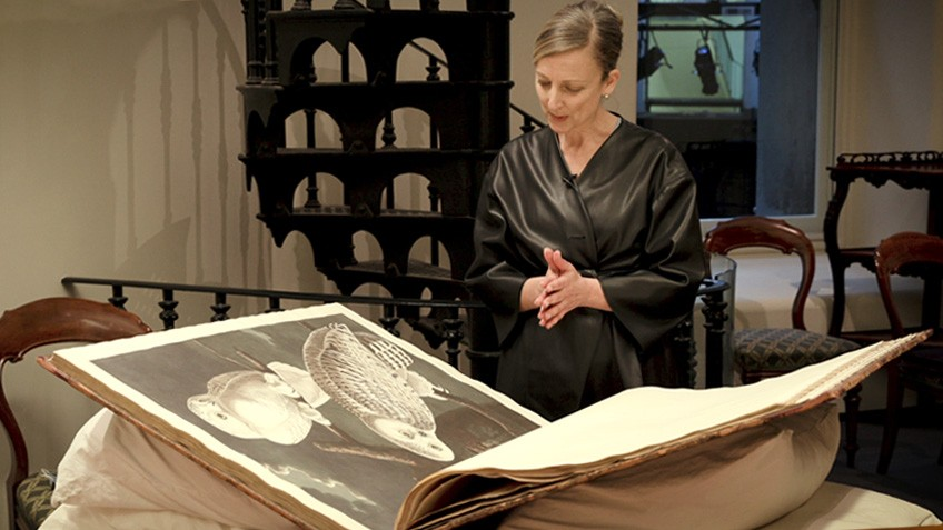A woman looks down at an oversized book, open on a table
