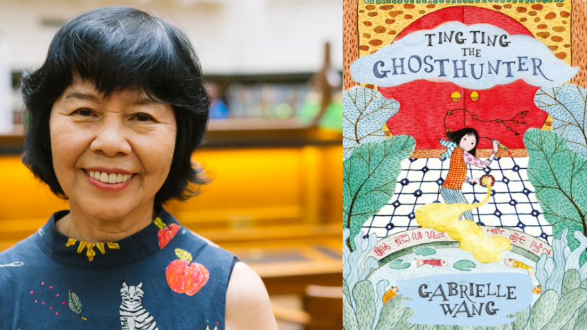 Headshot of Gabrielle Wang next to a colourful book cover