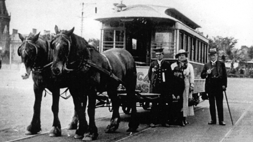 Black and white photo of two horses in front of a tram