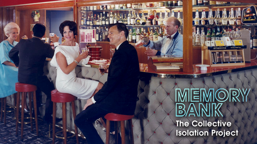 Men and women with 1960s outfits and hairstyles enjoy a drink at a bar