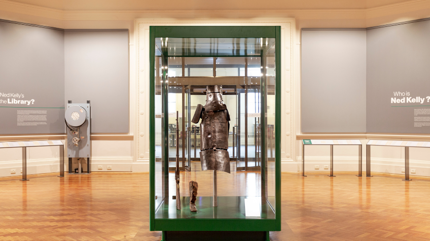 Glass display cabinet with armour inside