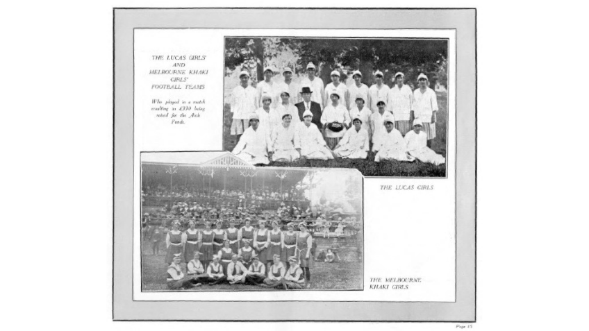 Two black and white photographs of women football teams