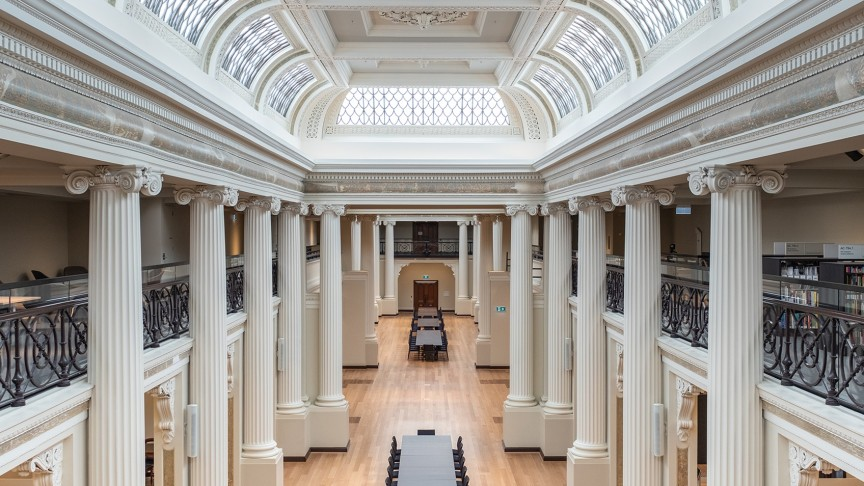 view from mezzanine of Queen's Hall