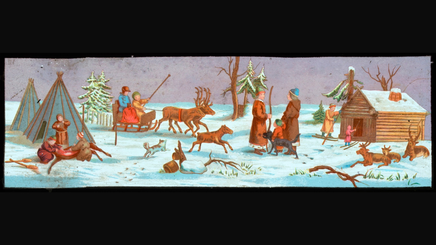 This winter wonderland scene is hand painted on glass. The Magic Lantern slides were made to be projected like an early version of a slide show or movie. When light was shone through the image,s the colours were bright and saturated creating a magical sight.