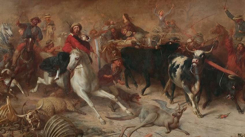Painting of people fleeing a large bushfire