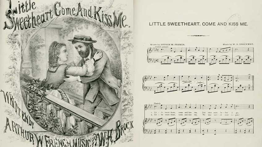 Sheet music for Little Sweetheart, come and kiss me, 1875