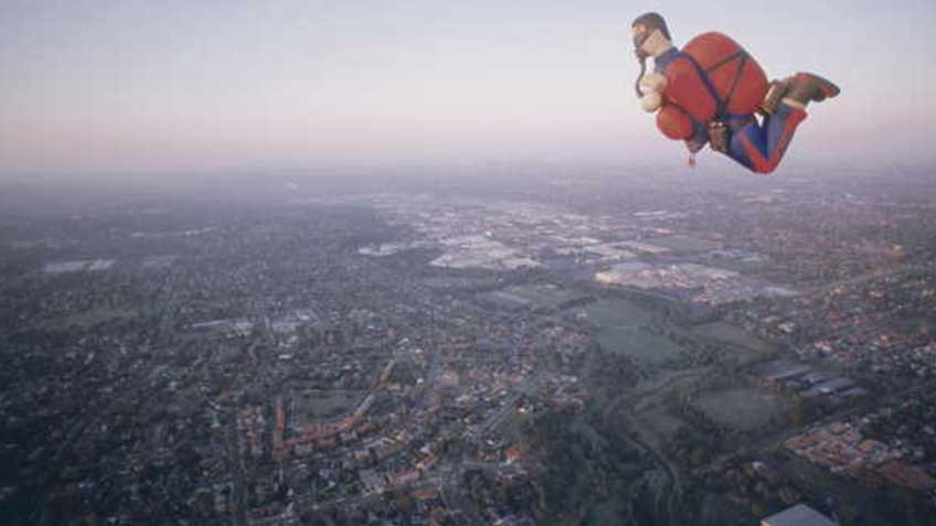 Action man skydiver hot-air balloon, photo by Regis Martin, 1999