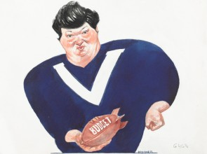 Newspaper cartoon of former Victorian premier Joan Kirner in football guernsey holding a football labelled Budget