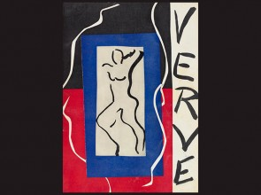 book cover on black background with drawing of naked figure and the word Verve written vertically