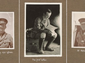 Photo of 3 pictures of a man in uniform pasted into an album