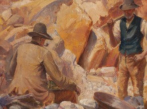 Close-up oil painting of two men mining for gold