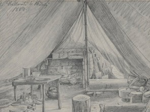 Drawing of tent belonging to Georg Griffiths and Carl James Morgan, Ballarat goldfields, 16 July 1853, with furnishings, tools and belongings