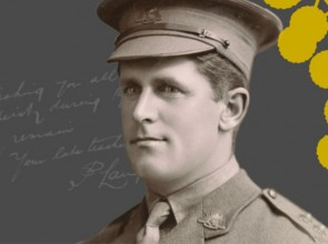 Poster of soldier and wattle flower