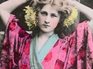 Phyllis Dare wearing a pink kimono