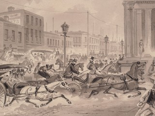 Pen and brush painting of carriages driving up Bourke Street in 1867, passing the colonnades of the GPO