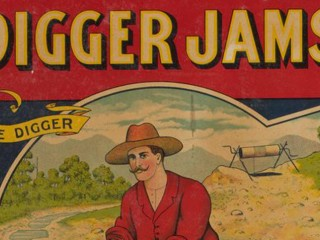 Old-fashioned poster for Diggers Jams featuring red-shirted colonial-era man panning for gold