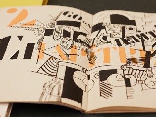 Illustrated pages of a book with Modern drawings