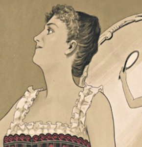 Sepia Edwardian drawing of a woman wearing a corset gazing at herself in a hand-held mirror, reflected in a larger mirror in the background