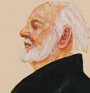 Painting of a man with white hair and a white beard