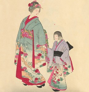 Block print illustration of a woman and girl wearing traditional Japanese kimonos