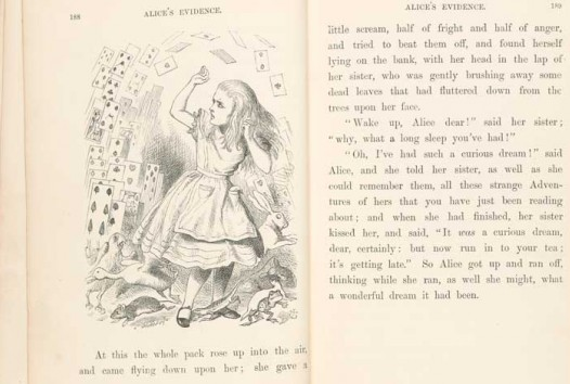 black and white photo of double-page spread from rare first edition copy of Lewis Carroll's Alice's Adventures in Wonderland featuring Tenniel's illustration of Alice with playing cards
