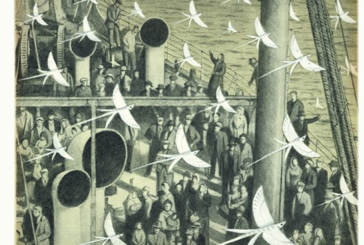 A greyscale image of birds flocking on a shipping vessel with people watching below
