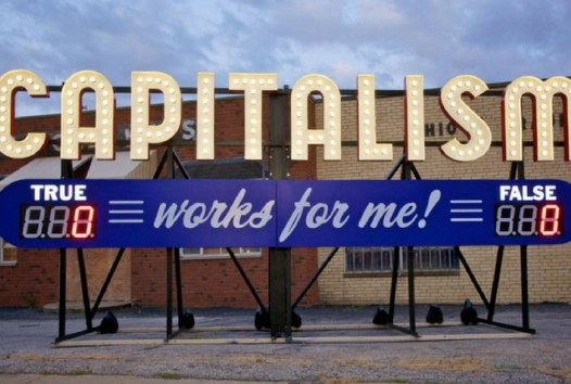Large capitalism sign