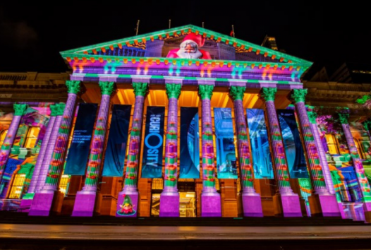 Animated images light up the Library's facade