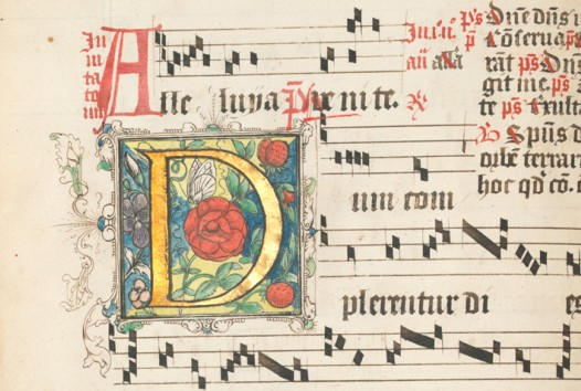 Decorated initial from an antiphonal and musical notes
